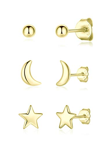 Gulicx 3 Pairs Silver 14K Gold Stud Earrings Set for Women Girls, Hypoallergenic 925 Stering Silver Tiny Round Ball Star Moon Stud Earring,Small Sleeper Cartilage Helix Studs Earring Set