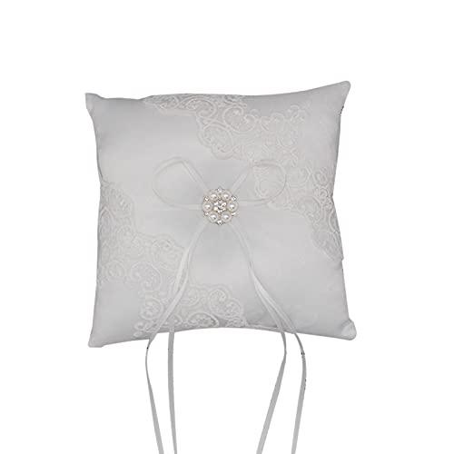 SunshineFace Cojín de boda con lazo y perla con cinta de satén para anillos, ceremonia de compromiso y ceremonia de boda, decoración de los amantes