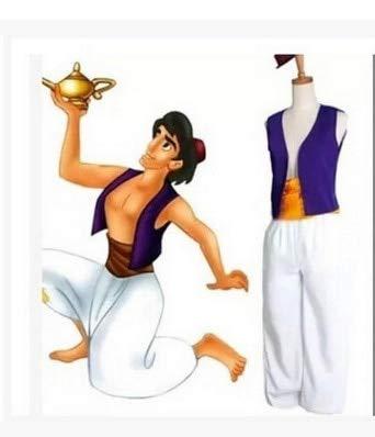 WSJDE S-3XL Adulto Aladdin Lámpara Príncipe Aladdin Disfraz Halloween Anime Cosplay Disfraz Adán príncipe Disfraces XS