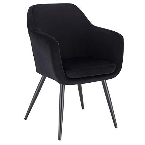 Lestarain 1 x Esszimmerstühle Polsterstuhl Küchenstuhl Samt Stuhl Sessel mit Armlehne, Metallbeine, für Esszimmer Wohnzimmer, Schwarz