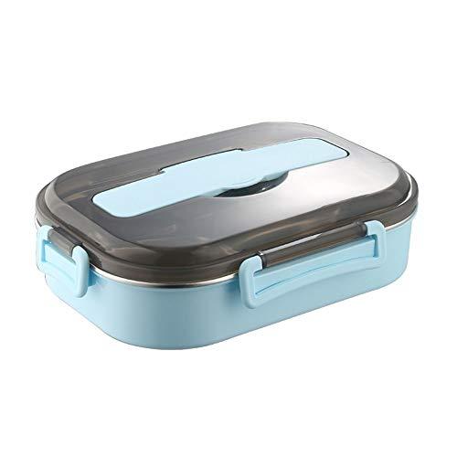 Caja De 1500ml, Caja con 3 Compartimentos Y Cubiertos, La Caja De Comida Es Muy Adecuada para Niños Y Adultos (Color : Light Blue 1500ml)