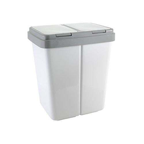 Ribelli Zweimer Duo Müllbehälter mit Deckel Kunststoff Mülleimer für die Küche geruchsdichter Abfalleimer Mülltrennsystem 2 x ca. 25 Liter - Farbe: Grau