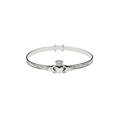 Irish Claddagh Bracelet Made in Ireland Sterling Silver Small Adjustable Bangle Style Fits Most Women Made in Co. Dublin, Ireland by Boru