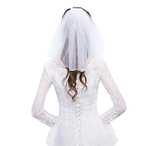Prosy Voile de mariée en cristal court à 1 étage en maille souple avec peigne - Accessoire pour cheveux pour femmes et filles (Blanc)