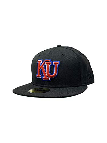 New Era Kansas Jay Hawks 59Fifty Fitted Baseball Cap Flat Bill Hat - Schwarz - 63 EU