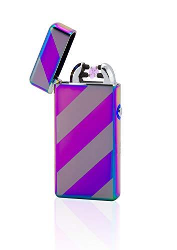 TESLA Lighter TESLA Lighter T08 Lichtbogen Feuerzeug, Plasma Double-Arc, elektronisch wiederaufladbar per USB, ohne Gas und Benzin, mit Ladekabel, in edler Geschenkverpackung, gestreift Regenbogen Regenbogen