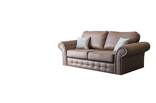 mb-moebel kleines Sofa Wohnzimmer Couch Wohnlandschaft 3-Stizer Luxor BRAUN