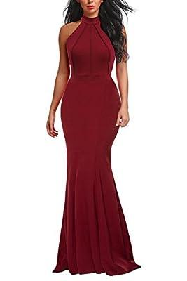 Berydress Women's Vintage Mermaid Dress Evening Party Sleeveless Bodycon Maxi Floor-Length Halter Burgundy Long Dress (M, 6075-Burgundy)