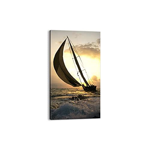 Quadro su tela - Elemento unico - nave tramonto sole paesaggio - 45x80cm - Pronto da appendere - Home Decor - Stampe su Tela - Quadri Moderni - completamente incorniciato - PA45x80-3158
