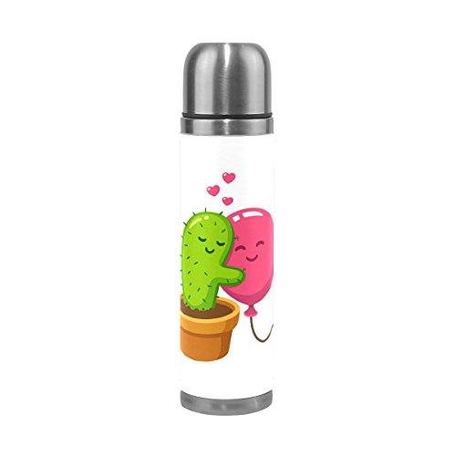 alaza Cactus ballon liefde roestvrij staal waterfles vacuüm geïsoleerde Thermos Flask 17 Oz echt leer verpakt Cover