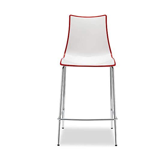 Scab Set 2 Design Zebra Bicolore Tabouret h. 65 cm Rouge-Blanc
