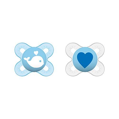 MAM Start Schnuller im 2er-Set, speziell für Früh- und Neugeborene, stillfreundlicher Silikonschnuller aus MAM SkinSoft Silikon mit Schnullerbox, 0-2 Monate, blau