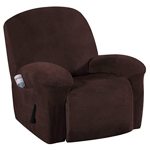R&P Samt Relaxsessel Bezug 1-teilig Stretch Sesselschoner Sesselhusse für Relaxsessel Fernsehsessel Liege Sessel,Braun