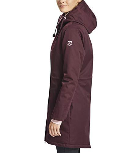myMo Parka warm wattierte Damen Outdoor-Jacke mit Stehkragen und Kapuze Bordeaux, Größe:XS