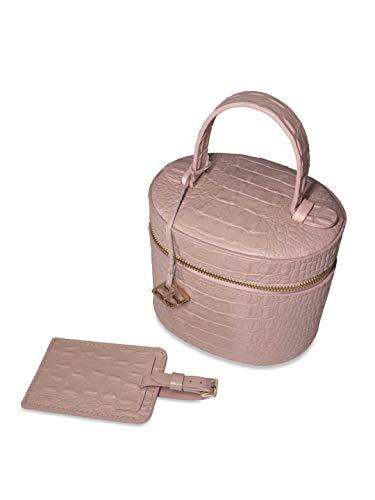 YOUBAG Geschenkset für Damen, Tania Make-up Box und Gepäckanhänger, handgefertigt aus italienischem Leder - edle Krokoprägung in Puder rosa