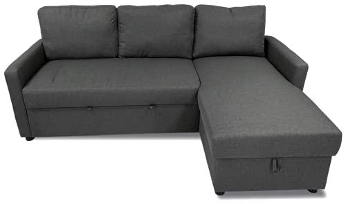 MUEBLIX.COM | Sofa Cama Chaise Longue 3 Plazas Palma | Sofas de Salón Modernos | Asientos y Respaldo Espuma | Sofa con Estructura de Madera y Patas Metal | Color Gris