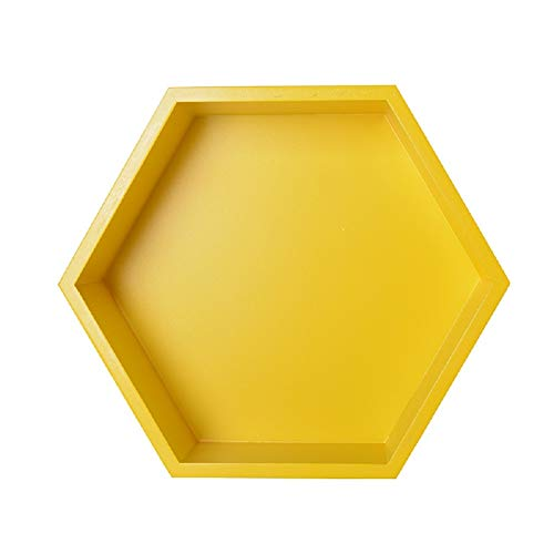 Topdo - 1 estante hexagonal para pared, estantería de almacenamiento, salón, jardín, tamaño 27 x 23,5 x 8 cm, color amarillo