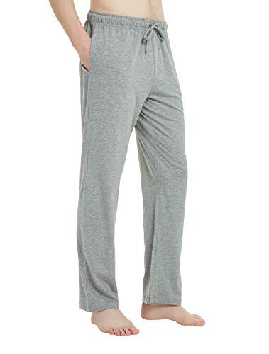 U2SKIIN Mens Cotton Pajama Pants, Lightweight Lounge Pant with Pockets Soft Sleep Pj Bottoms for Men(Light Grey Mel, M)