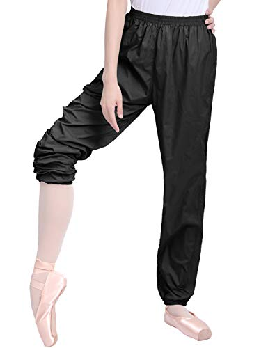 Daydance Black Teen Girls Dance Pants Ripstop Ballet Warm Up Perspiration Trousers
