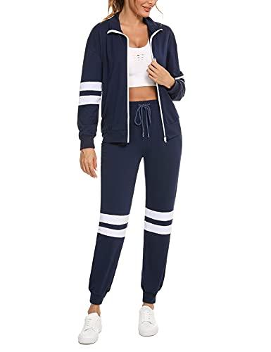 Icloasm Tuta Sportiva Donna Completa 2 Pezzi Tuta da Ginnastica Donna Elegante Casuale Felpa+ Pantaloni