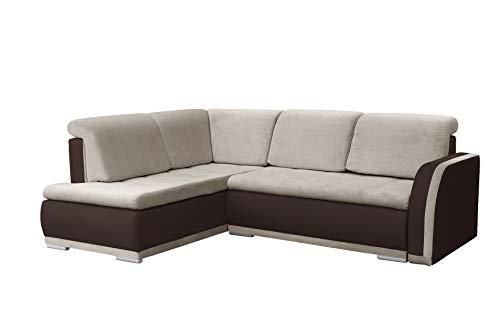mb-moebel Ecksofa Sofa Eckcouch Couch mit Schlaffunktion und Bettkasten Ottomane L-Form Schlafsofa Bettsofa Polstergarnitur - VERO II (Ecksofa Links, Beige + Braun)