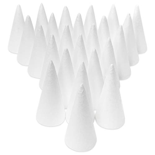 Foam Cones for Crafts (1.9 x 4.2 in, White, 24 Pack)