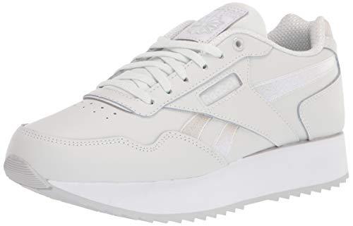 Reebok Women's Classic Harman Ripple Double Sneaker, True Grey/White/White, 8.5