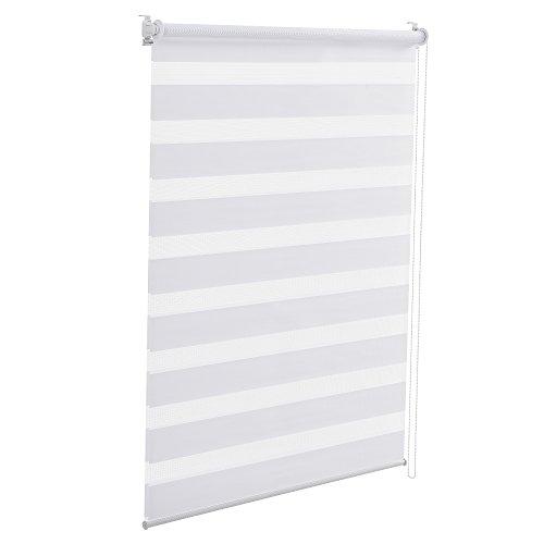 [en.casa] Duo Rollo 80x150cm Doppelrollo Sonnenschutz Zebra-Rollo ohne Bohren Weiß