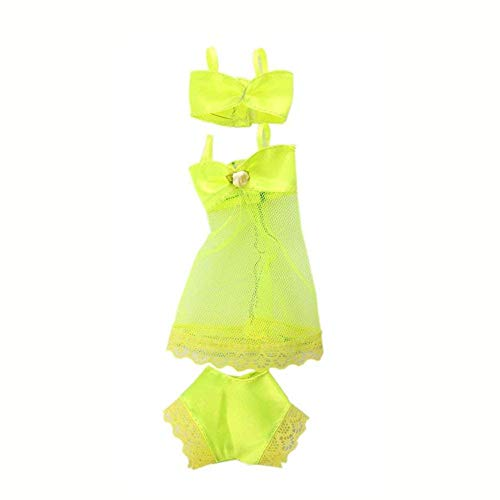 Culer Puppe Bikini Kleidung Spitze Pyjama Badeanzug-Badeanzug Strand-Bikini-Kleidung Unterwäsche Bademoden (Gelb)