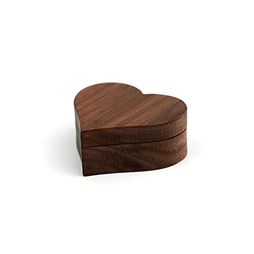 JIEERCUN Forma de corazón Forma de madera Caja de anillos de terciopelo Interior Joyería Organizador Organizador Pendientes Funda de presentación para compromiso Paquete de regalo de boda Cajas de joy