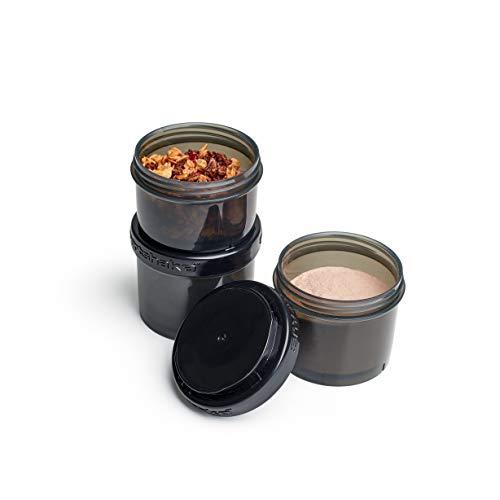 Smartshake Revive Protein Powder Storage Container 3 Pack – 2 x 200ml + 150ml BPA Free Shaker Bottle Storage Tub Pots for Protein Shakes, Whey Protein Powder, Vegan Protein Powders And More, Black