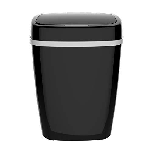 Ecloud Shop Sensor automático del Cubo de Basura Cubo de la Basura Oficina en el hogar Tapa sellada Cubo de Basura Sensor de Movimiento infrarrojo sin Contacto Basura (15L, Negro)