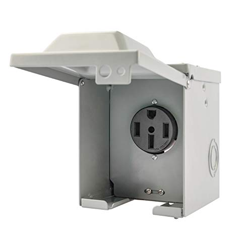 RVGUARD 50 Amp 125/250 Volt RV/EV Power Outlet Box, Enclosed Lockable Weatherproof Outdoor Electrical NEMA 14-50R Receptacle Panel, ETL Listed
