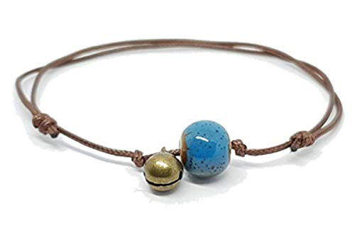 TANAMI Anklets Supplies for Bead & Bell Turquoise Ankle Wrist Bracelet Ceramic Porcelain Boho Hippy Unisex Great for DIY Jewelry Gift for Women Girls