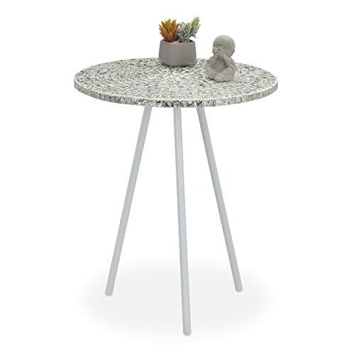 Relaxdays Mosaik-Beistelltisch, rund, kunstvoller Schminktisch, handgefertigt, einzigartig, H x T: 50 x 41 cm. Weiß, 50 x 41 x 41 cm.