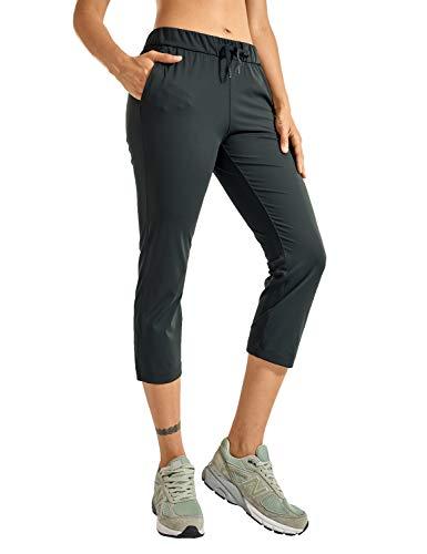CRZ YOGA Damen Casual Sporthose Freizeithose Jogging Hose Elastischer mit Taschen Olivgrün 38