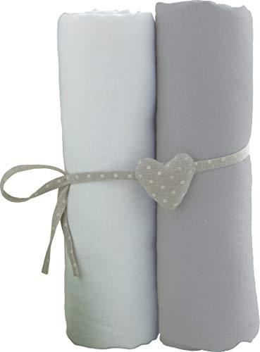 Lot de 2 Draps housse Blanc/Gris Babycalin - 60 x 120 cm