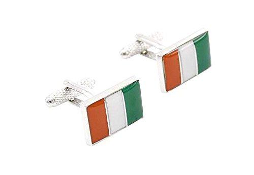 Bouton de manchette drapeau italie rectangulaire
