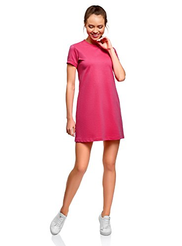 oodji Ultra Damen Lässiges Kleid mit Kurzen Ärmeln, Rosa, M