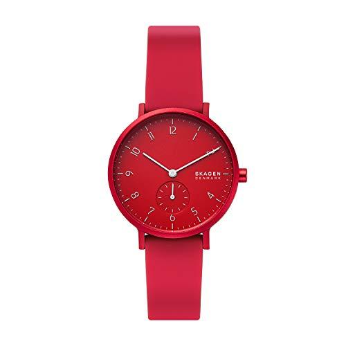 Skagen Women's Aaren Quartz Analog Stainless Steel and Silicone Watch, Color: Red (Model: SKW2765)