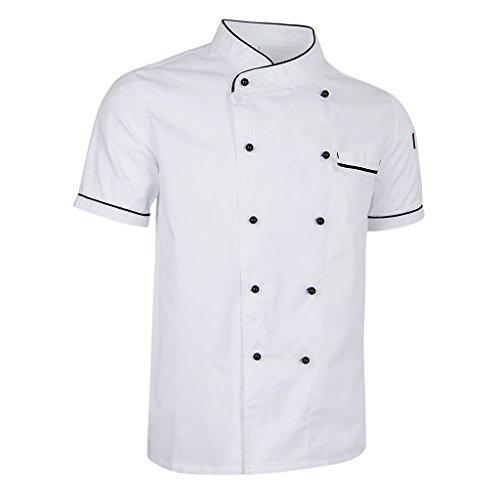 F Fityle Chef Cappotto Giacca Uniforme Manica Corta Cucina Hotel Cucinare Abiti Accattivante Bianco E Nero - bianca, XL