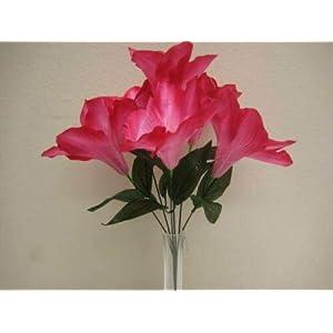 16″ Bouquet 2 Bushes Beauty Amaryllis Artificial Silk Flowers LivePlant