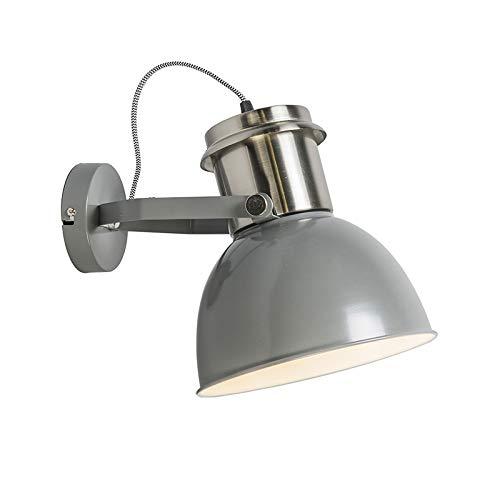 QAZQA Industrial aplique gris - Industrial Acero Redonda