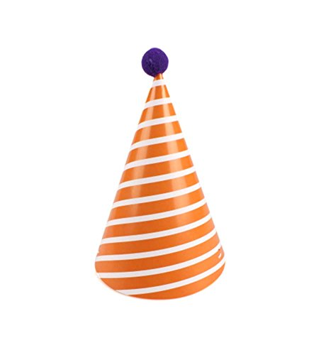 Blancho Fournitures 7Pcs d'anniversaire d'enfants Hat Party Party Hat, Stripe Jaune
