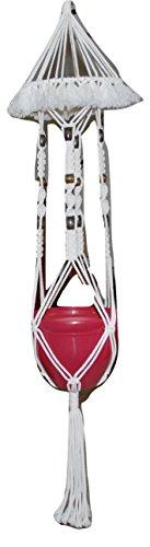 Handmade Macrame Plant Hanger - 59' Long - Holds 10' Round Pot - Off White...