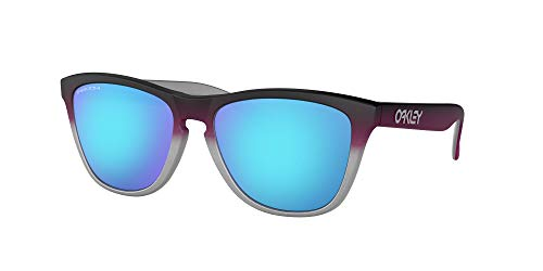 Oakley Unisex-Adult OO9013 Frogskins Sunglasses, Black Pink Fade Silver/Prizm Sapphire, 55 mm