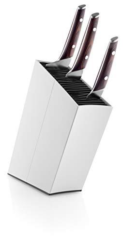 EVA SOLO 515291 Messerblock mit Einsatz, Schräg, Höhe: ca. 27 cm, Aluminium, Weiß, 32,7 x 20,8 x 8,2 cm