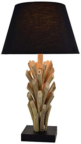 Design Tischlampe Treibholz Stoffschirm dekorativ Handarbeit Unikat Wohnzimmer Schlafzimmer Tischleuchte