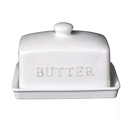 XIAOSAKU Butter Dishes Farmhouse Porcelain Butter Dish with Lid Ceramic Butter Keeper, New Butter Dish with Handle Cover Design 5.5Inch Butter Sealing Tank Butter Dishes with Lid