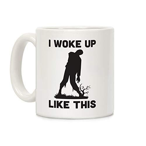 Taza de café de cerámica con texto 'I Wake Up Like This Zombie White de 325 ml